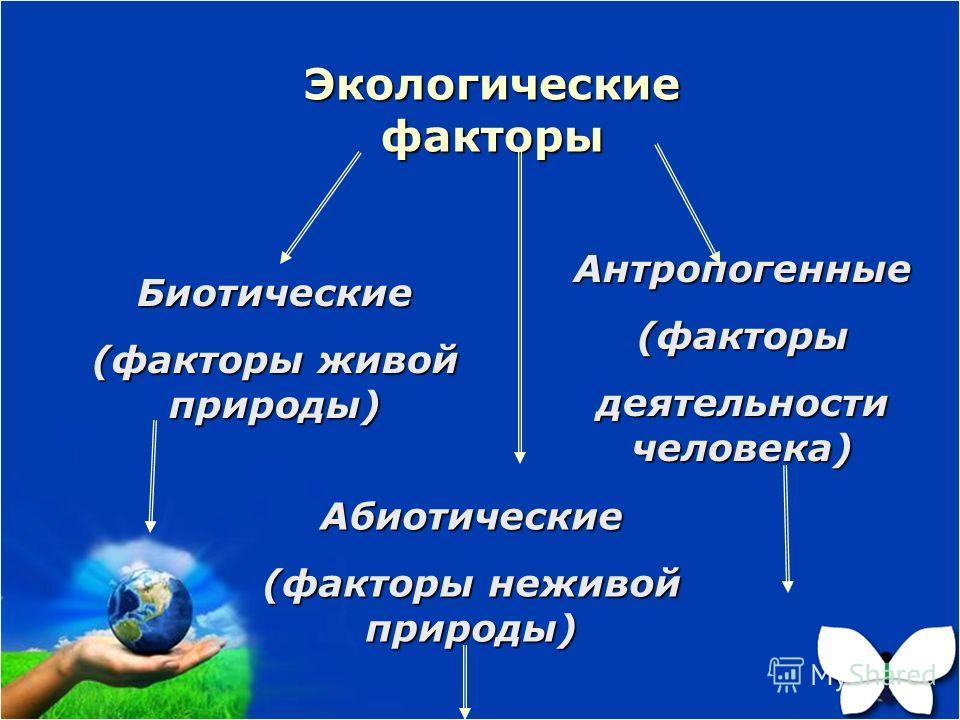 Экологические факторы Биотические (факторы живой природы) Абиотические (факторы неживой природы) Антропогенные(факторы деятельности человека)