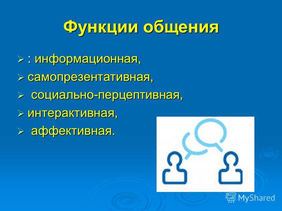 Функции общения : информационная, самопрезентативная, с социально-перцептивная, интерактивная, а аффективная.