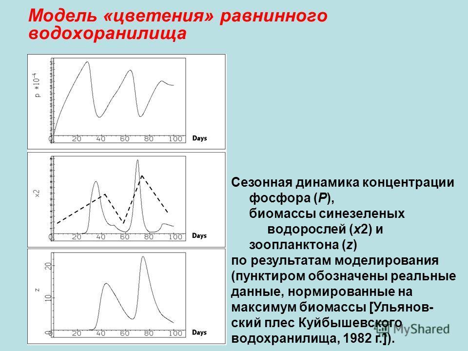 Модель «цветения» равнинного водохоранилища Сезонная динамика концентрации фосфора (Р), биомассы синезеленых водорослей (x2) и зоопланктона (z) по результатам моделирования (пунктиром обозначены реальные данные, нормированные на максимум биомассы [Ул
