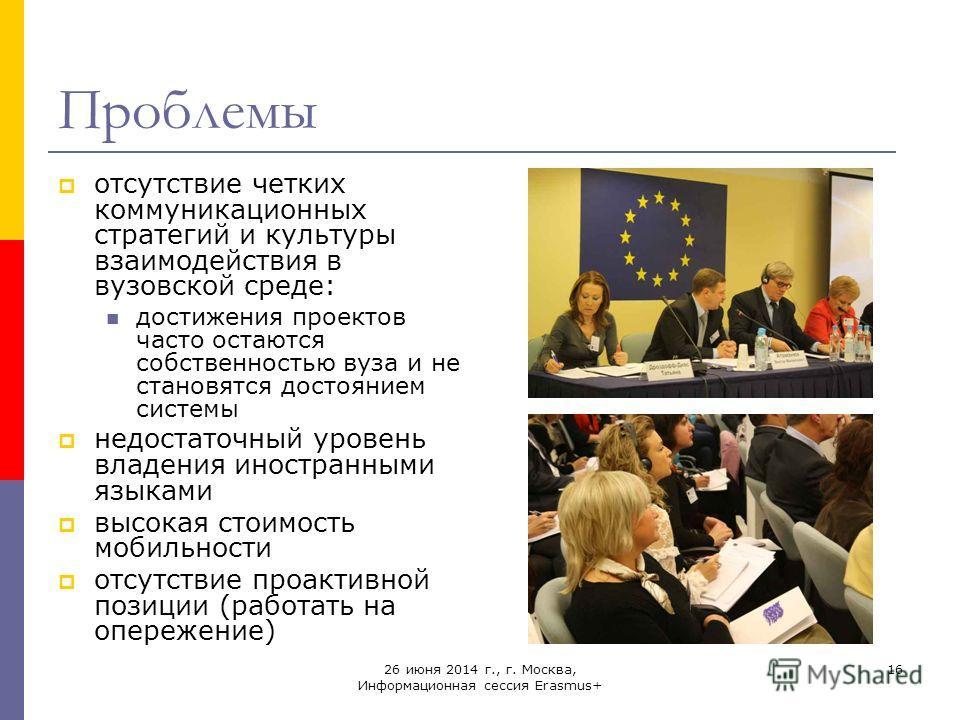 26 июня 2014 г., г. Москва, Информационная сессия Erasmus+ 16 Проблемы отсутствие четких коммуникационных стратегий и культуры взаимодействия в вузовской среде: достижения проектов часто остаются собственностью вуза и не становятся достоянием системы