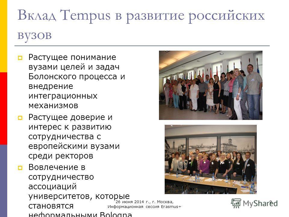 26 июня 2014 г., г. Москва, Информационная сессия Erasmus+ 9 Вклад Tempus в развитие российских вузов Растущее понимание вузами целей и задач Болонского процесса и внедрение интеграционных механизмов Растущее доверие и интерес к развитию сотрудничест