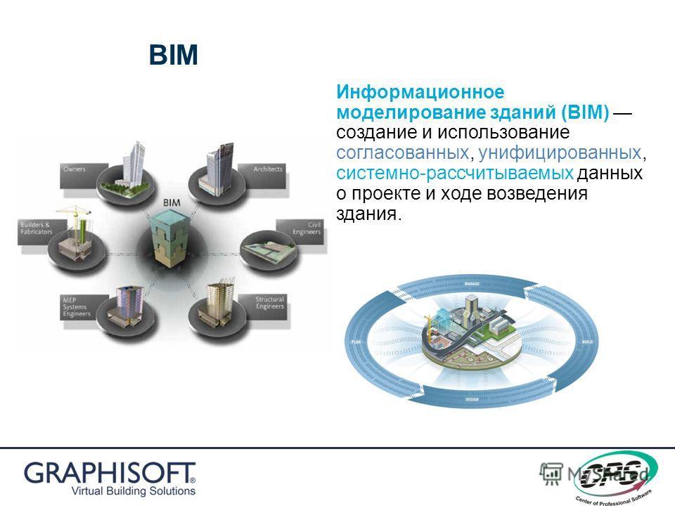 BIM Информационное моделирование зданий (BIM) создание и использование согласованных, унифицированных, системно-рассчитываемых данных о проекте и ходе возведения здания.