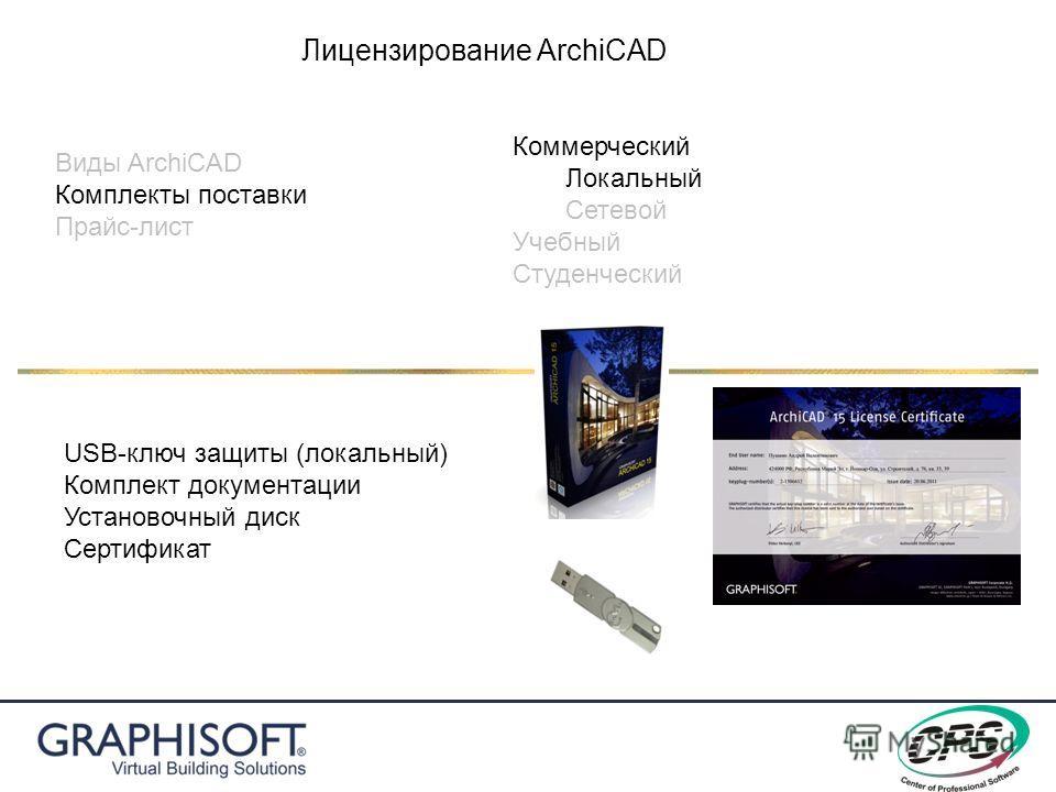 Виды ArchiCAD Комплекты поставки Прайс-лист Лицензирование ArchiCAD Коммерческий Локальный Сетевой Учебный Студенческий USB-ключ защиты (локальный) Комплект документации Установочный диск Сертификат