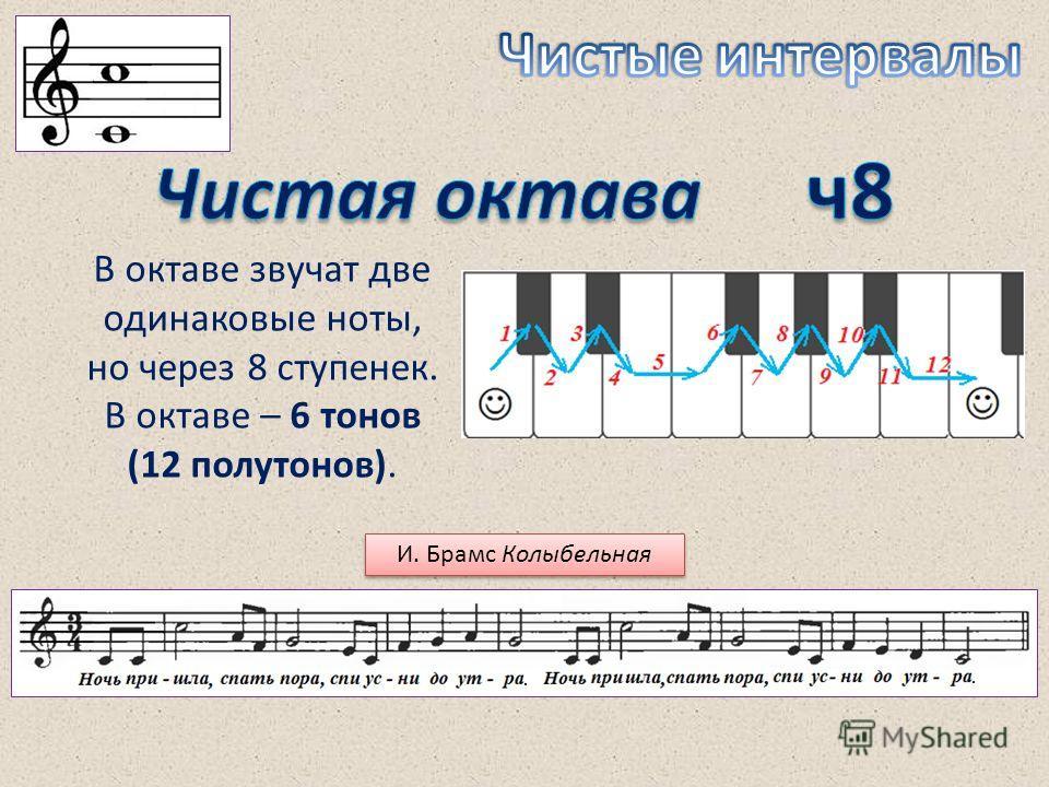 В октаве звучат две одинаковые ноты, но через 8 ступенек. В октаве – 6 тонов (12 полутонов). И. Брамс Колыбельная