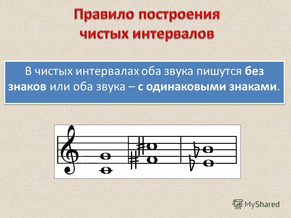 В чистых интервалах оба звука пишутся без знаков или оба звука – с одинаковыми знаками.