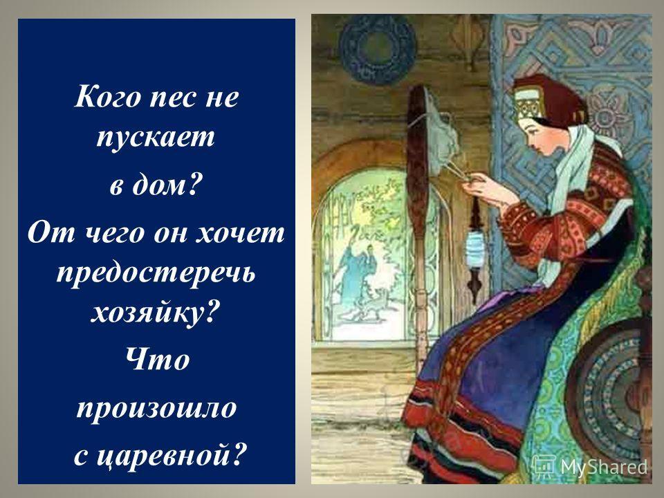 Кого пес не пускает в дом? От чего он хочет предостеречь хозяйку? Что произошло с царевной?