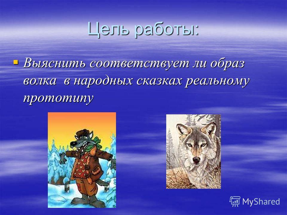Цель работы: Выяснить соответствует ли образ волка в народных сказках реальному прототипу Выяснить соответствует ли образ волка в народных сказках реальному прототипу