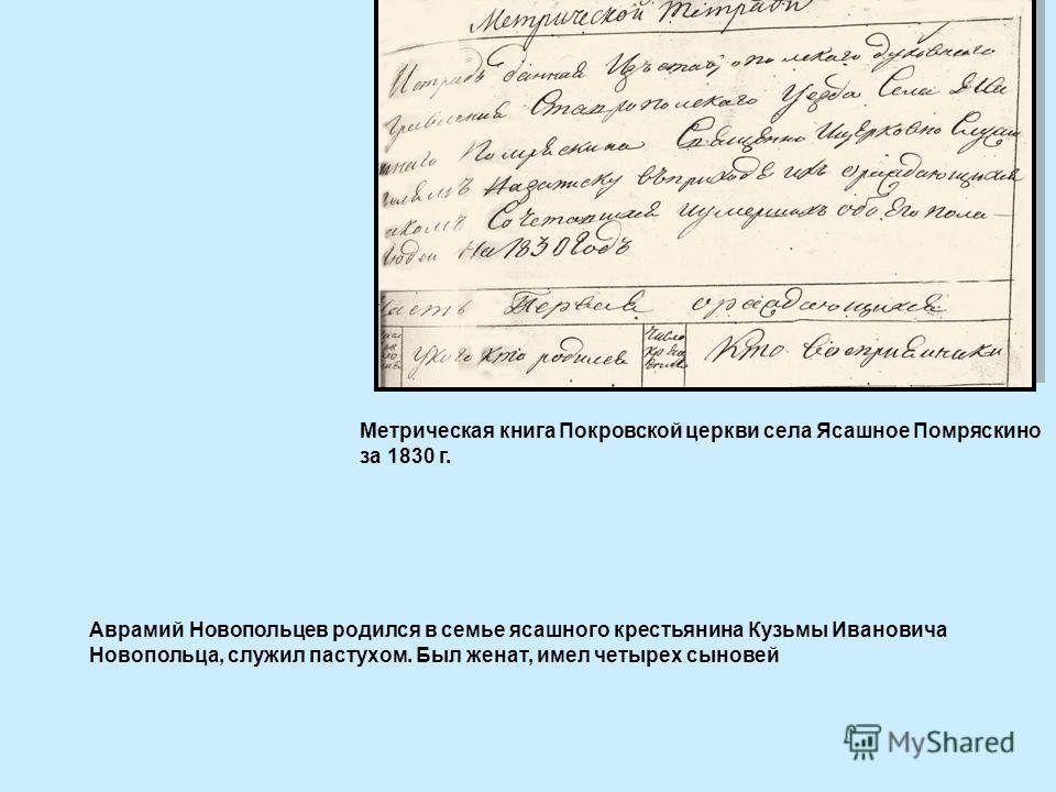 Метрическая книга Покровской церкви села Ясашное Помряскино за 1830 г. Аврамий Новопольцев родился в семье ясашного крестьянина Кузьмы Ивановича Новопольца, служил пастухом. Был женат, имел четырех сыновей