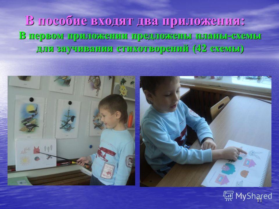 В пособие входят два приложения: В первом приложении предложены планы-схемы для заучивания стихотворений (42 схемы) 11