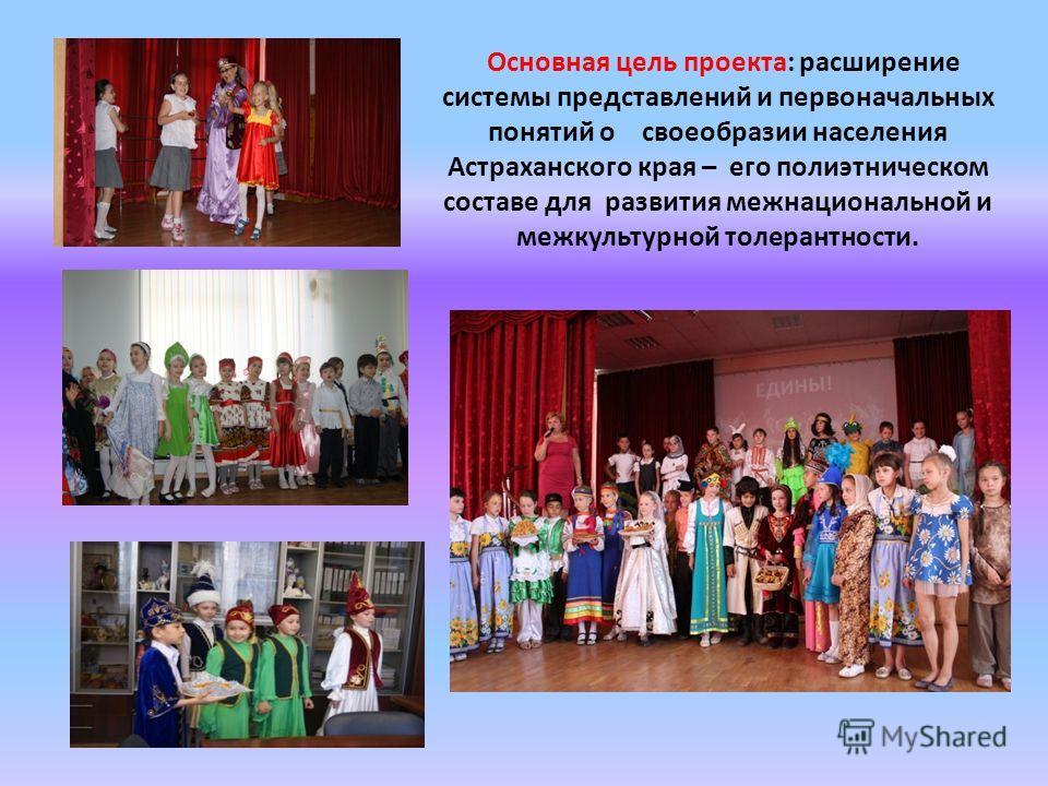 Основная цель проекта: расширение системы представлений и первоначальных понятий о своеобразии населения Астраханского края – его полиэтническом составе для развития межнациональной и межкультурной толерантности.