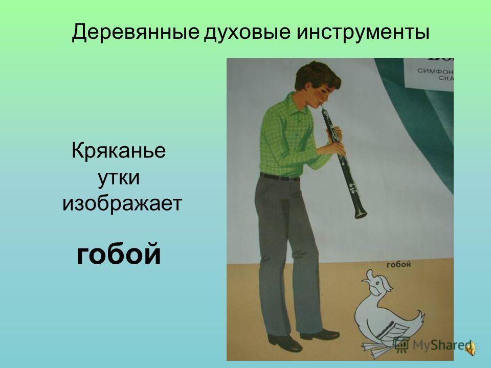 Кряканье утки изображает гобой Деревянные духовые инструменты