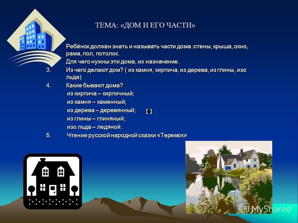 ТЕМА: «ДОМ И ЕГО ЧАСТИ» 1.Ребёнок должен знать и называть части дома :стены, крыша, окно, рама, пол, потолок. 2. Для чего нужны эти дома, их назначение. 3. Из чего делают дом? ( из камня, кирпича, из дерева, из глины, изо льда) 4. Какие бывают дома?