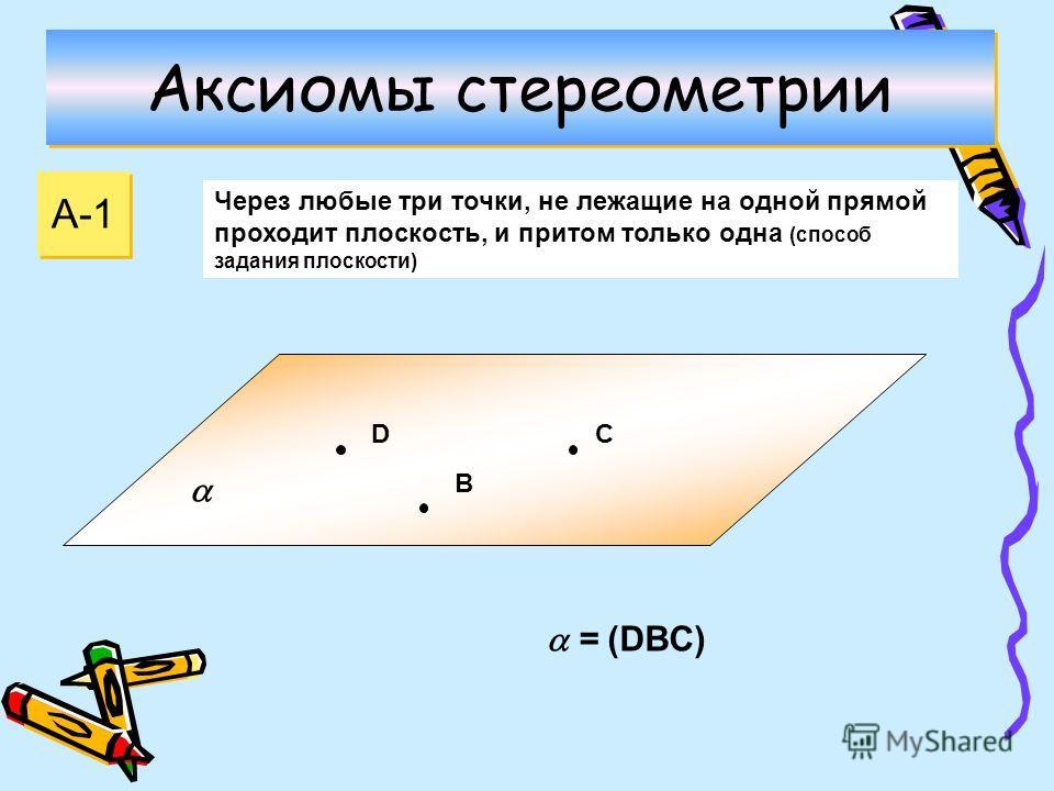 Аксиомы стереометрии А-1 Через любые три точки, не лежащие на одной прямой проходит плоскость, и притом только одна (способ задания плоскости) D B С = (DBС)