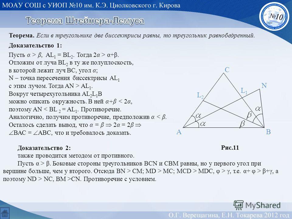 Теорема. Если в треугольнике две биссектрисы равны, то треугольник равнобедренный. Доказательство 1: Пусть α > β, AL 1 = BL 2. Тогда 2α > α+β. Отложим от луча BL 2 в ту же полуплоскость, в которой лежит луч ВС, угол α; N – точка пересечения биссектри