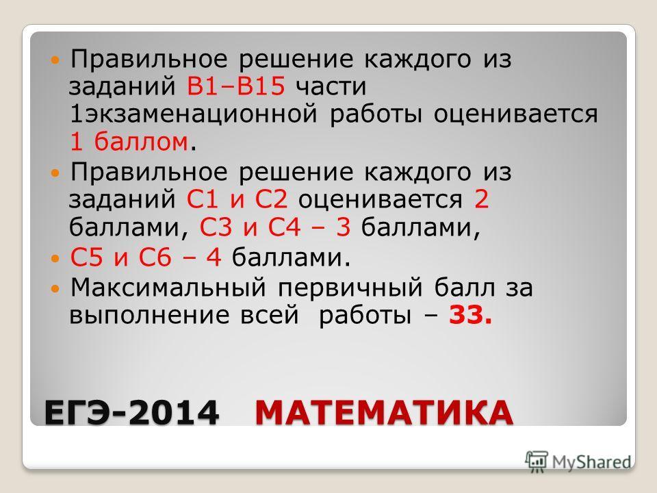 ЕГЭ-2014 МАТЕМАТИКА Правильное решение каждого из заданий В1–В15 части 1 экзаменационной работы оценивается 1 баллом. Правильное решение каждого из заданий С1 и С2 оценивается 2 баллами, С3 и С4 – 3 баллами, С5 и С6 – 4 баллами. Максимальный первичны