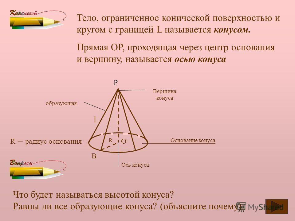 Рассмотрим окружность L с центром О и прямую ОР, перпендикулярную к плоскости этой окружности. Р Каждую точку окружности соединим отрезком с точкой Р. Поверхность, образованная этими отрезками называется конической, а сами отрезки образующими коничес