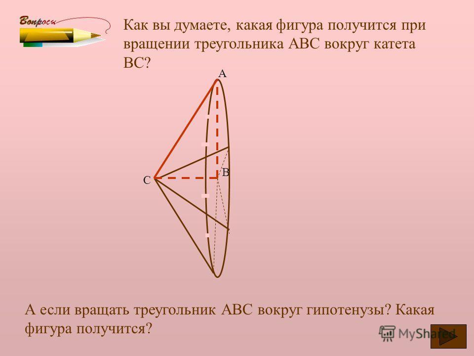 Что такое тело вращения? С каким телом вращения мы уже знакомы? Можно ли конус назвать телом вращения? Какую фигуру надо вращать, чтобы получить конус. Данный конус получен вращением прямоугольного треугольника АВС вокруг катета АВ. Боковая поверхнос