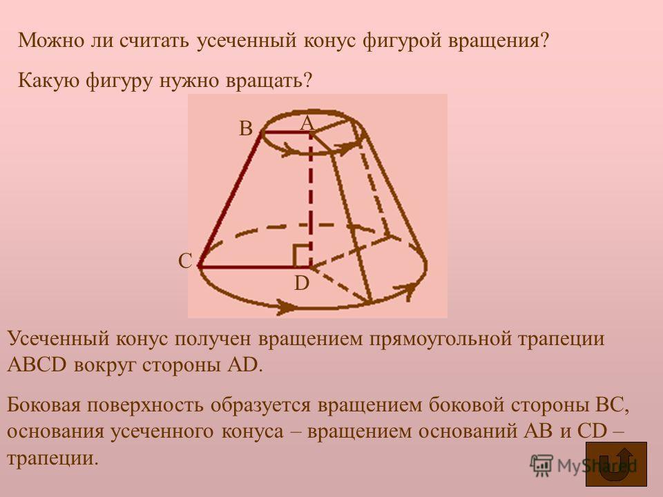 Основание исходного конуса и круг, полученный в сечении этого конуса плоскостью называется основаниями усеченного конуса, а отрезок, соединяющий их центры – высотой усеченного конуса. Основания усеченного конуса. Высота усеченного конуса. Образующая