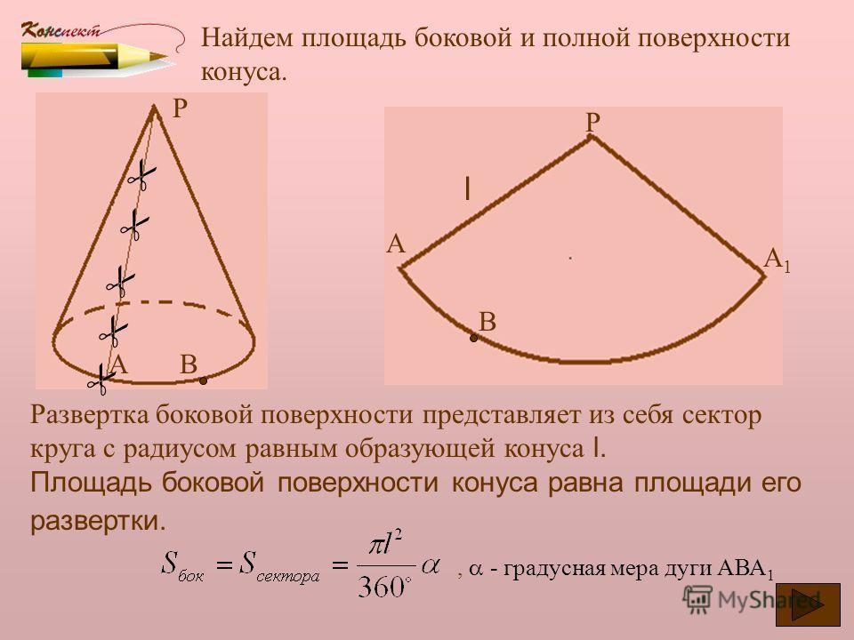 Можно ли считать усеченный конус фигурой вращения? Какую фигуру нужно вращать? А В С D Усеченный конус получен вращением прямоугольной трапеции АВСD вокруг стороны АD. Боковая поверхность образуется вращением боковой стороны ВС, основания усеченного