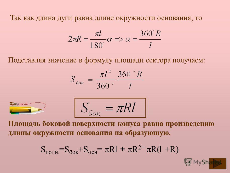Найдем площадь боковой и полной поверхности конуса. Р АВ А А1А1 Р В Развертка боковой поверхности представляет из себя сектор круга с радиусом равным образующей конуса l. Площадь боковой поверхности конуса равна площади его развертки., - градусная ме