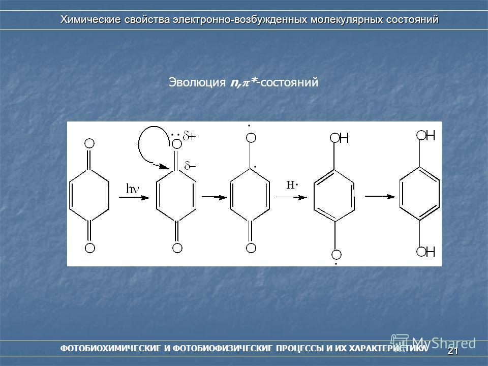 21 ФОТОБИОХИМИЧЕСКИЕ И ФОТОБИОФИЗИЧЕСКИЕ ПРОЦЕССЫ И ИХ ХАРАКТЕРИСТИКА Химические свойства электронно-возбужденных молекулярных состояний Эволюция n, *-состояний