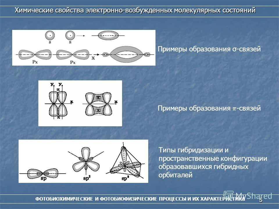 5 ФОТОБИОХИМИЧЕСКИЕ И ФОТОБИОФИЗИЧЕСКИЕ ПРОЦЕССЫ И ИХ ХАРАКТЕРИСТИКА Химические свойства электронно-возбужденных молекулярных состояний Примеры образования -связей Примеры образования σ-связей Типы гибридизации и пространственные конфигурации образов