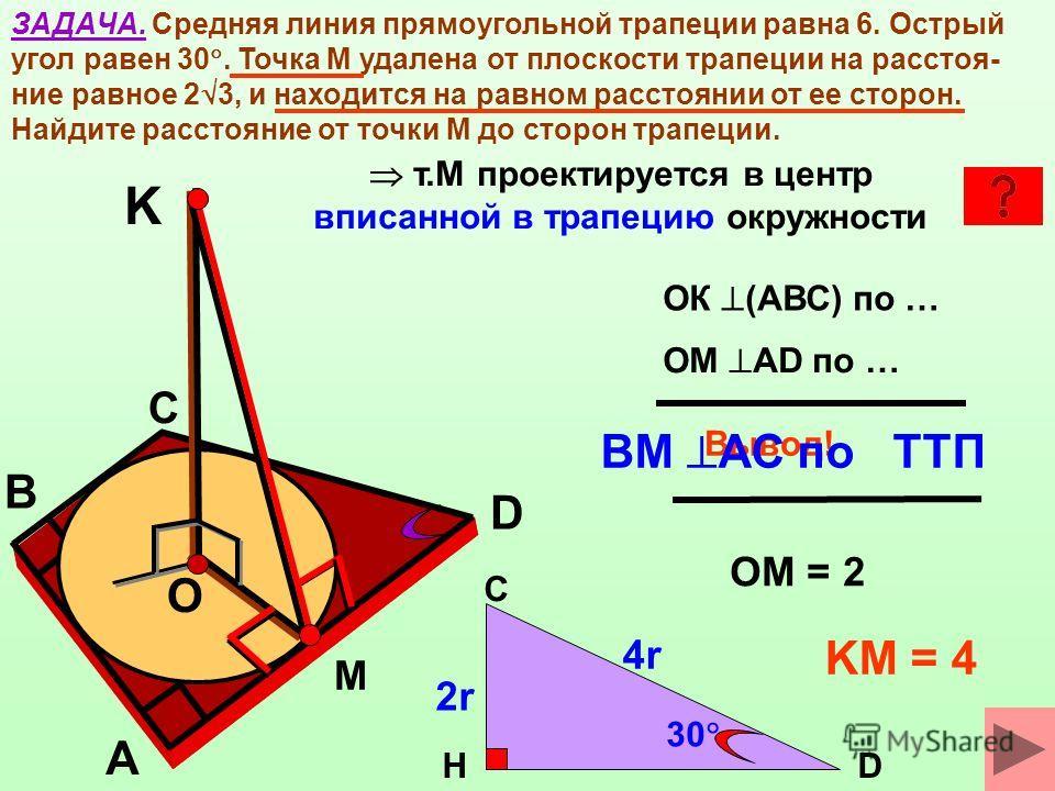ЗАДАЧА. Средняя линия прямоугольной трапеции равна 6. Острый угол равен 30. Точка М удалена от плоскости трапеции на расстоя- ние равное 2 3, и находится на равном расстоянии от ее сторон. Найдите расстояние от точки М до сторон трапеции. B O A D М С