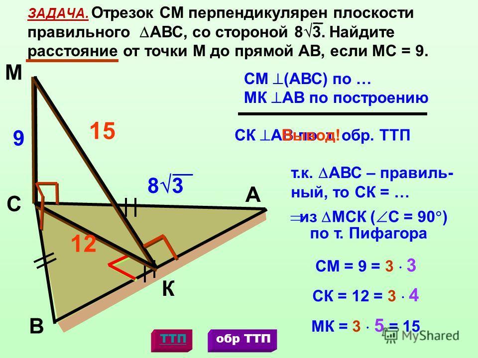 К М С А В ЗАДАЧА. Отрезок СМ перпендикулярен плоскости правильного АВС, со стороной 8 3. Найдите расстояние от точки М до прямой АВ, если МС = 9. МК АВ по построению СК АВ по т. обр. ТТП Вывод! СМ (АВС) по … 9 8 3 т.к. АВС – правиль- ный, то СК = … 1
