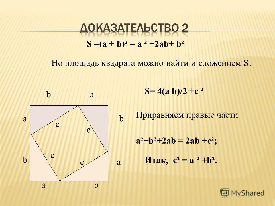 а b с b а а bа b с с с S =(а + b)² = а ² +2 аb+ b² Но площадь квадрата можно найти и сложением S: S= 4(а b)/2 +с ² Приравняем правые части а²+b²+2 аb = 2 аb +с²; Итак, с² = а ² +b².