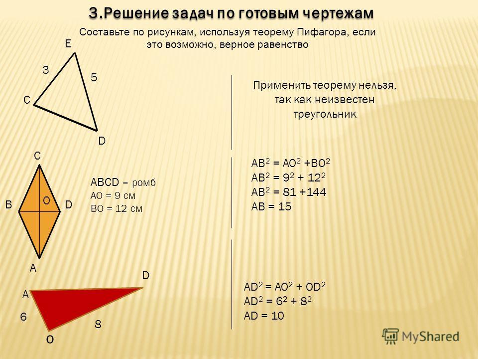 6 8 А D 3. Решение задач по готовым чертежам Составьте по рисункам, используя теорему Пифагора, если это возможно, верное равенство 5 3 C D E A DB C O ABCD – ромб АО = 9 см ВО = 12 см AD 2 = AO 2 + OD 2 AD 2 = 6 2 + 8 2 AD = 10 Применить теорему нель