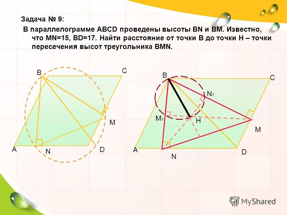Задача 9: В параллелограмме АВСD проведены высоты ВN и ВМ. Известно, что МN=15, ВD=17. Найти расстояние от точки В до точки Н – точки пересечения высот треугольника ВМN. А В С D N M А В С D N M Н М1М1 N1N1