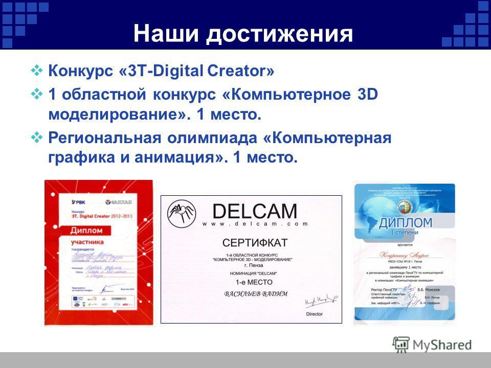 Наши достижения Конкурс «3Т-Digital Creator» 1 областной конкурс «Компьютерное 3D моделирование». 1 место. Региональная олимпиада «Компьютерная графика и анимация». 1 место.