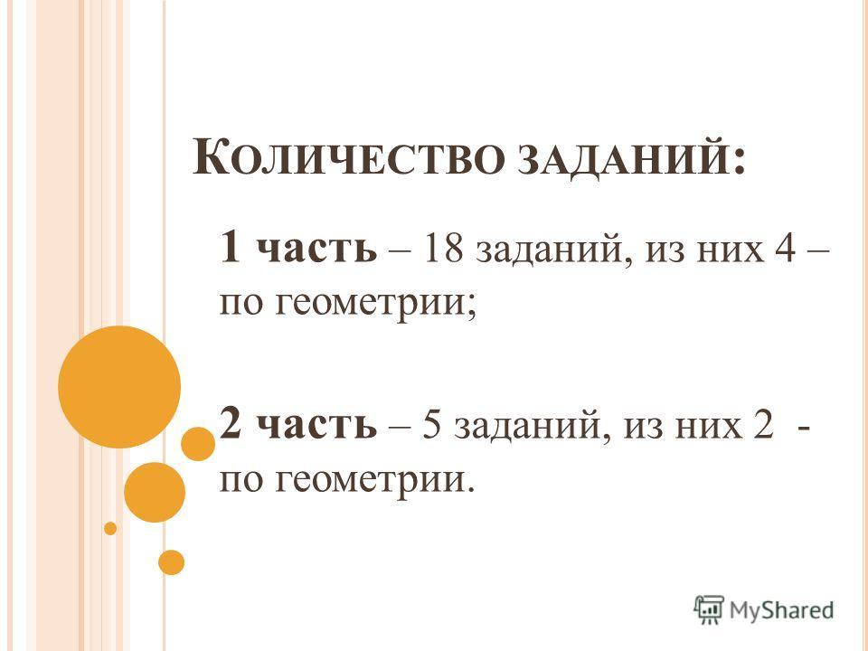 К ОЛИЧЕСТВО ЗАДАНИЙ : 1 часть – 18 заданий, из них 4 – по геометрии; 2 часть – 5 заданий, из них 2 - по геометрии.