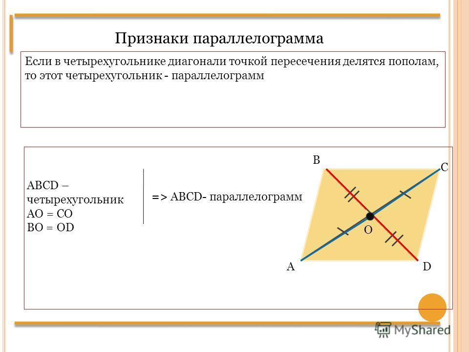 Признаки параллелограмма Если в четырехугольнике диагонали точкой пересечения делятся пополам, то этот четырехугольник - параллелограмм DА В С ABCD – четырехугольник AО = CО ВО = ОD О => ABCD- параллелограмм