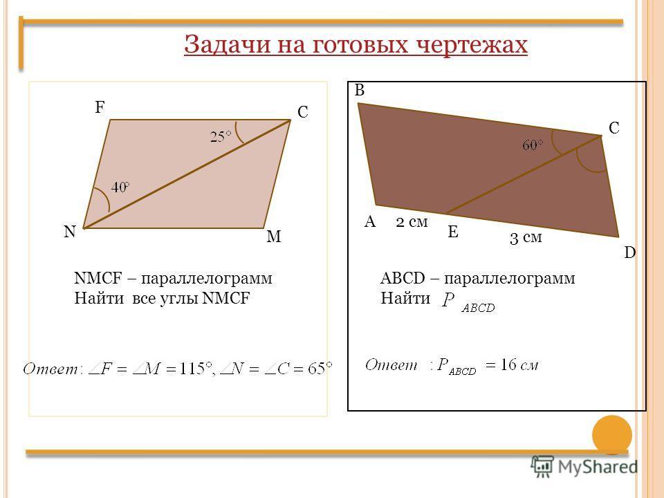 F С M N NMCF – параллелограмм Найти все углы NMCF А В С D E 3 см 2 см ABCD – параллелограмм Найти Задачи на готовых чертежах