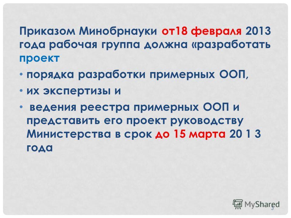 Приказом Минобрнауки от 18 февраля 2013 года рабочая группа должна «разработать проект порядка разработки примерных ООП, их экспертизы и ведения реестра примерных ООП и представить его проект руководству Министерства в срок до 15 марта 20 1 3 года 3