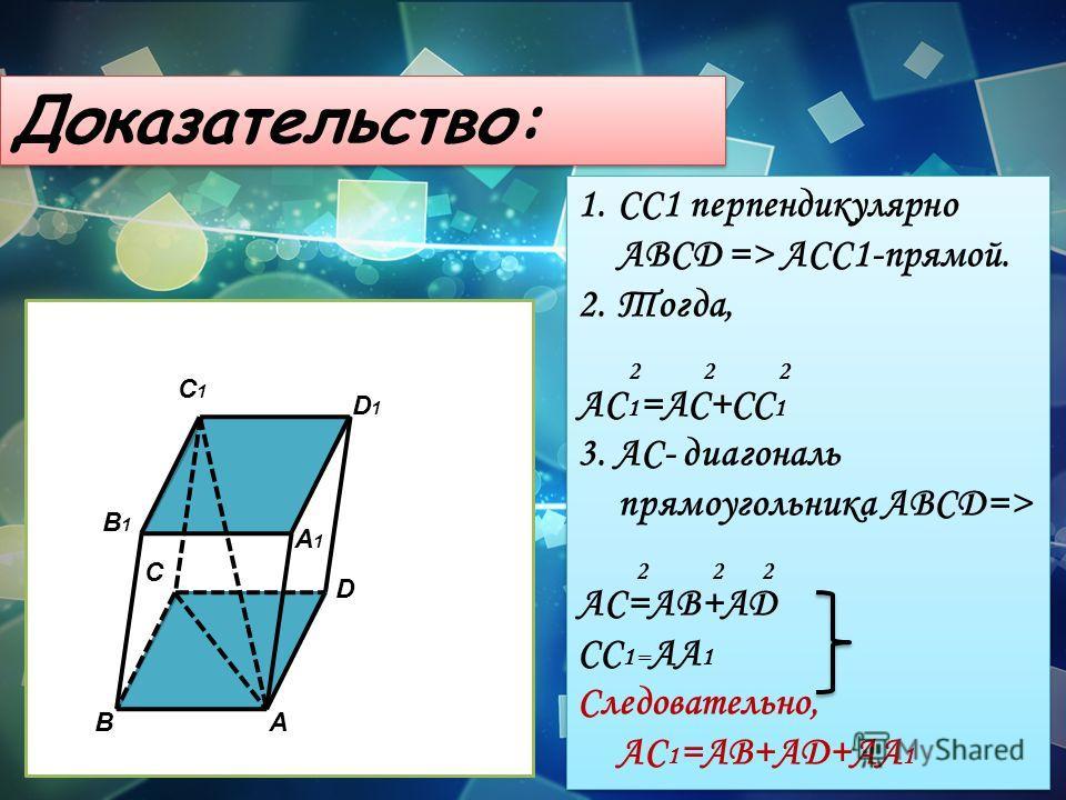 Доказательство: BA C D B1B1 A1A1 D1D1 C1C1 1.СС1 перпендикулярно АВСD => АСС1-прямой. 2.Тогда, AC 1 =AC+CC 1 3. АС- диагональ прямоугольника АВСD=> АС=АВ+АD СС 1= АА 1 Следовательно, АС 1 =АВ+АD+AA 1 1.СС1 перпендикулярно АВСD => АСС1-прямой. 2.Тогда
