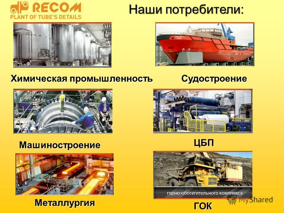 Наши потребители: Химическая промышленность Судостроение Машиностроение ЦБП Металлургия ГОК