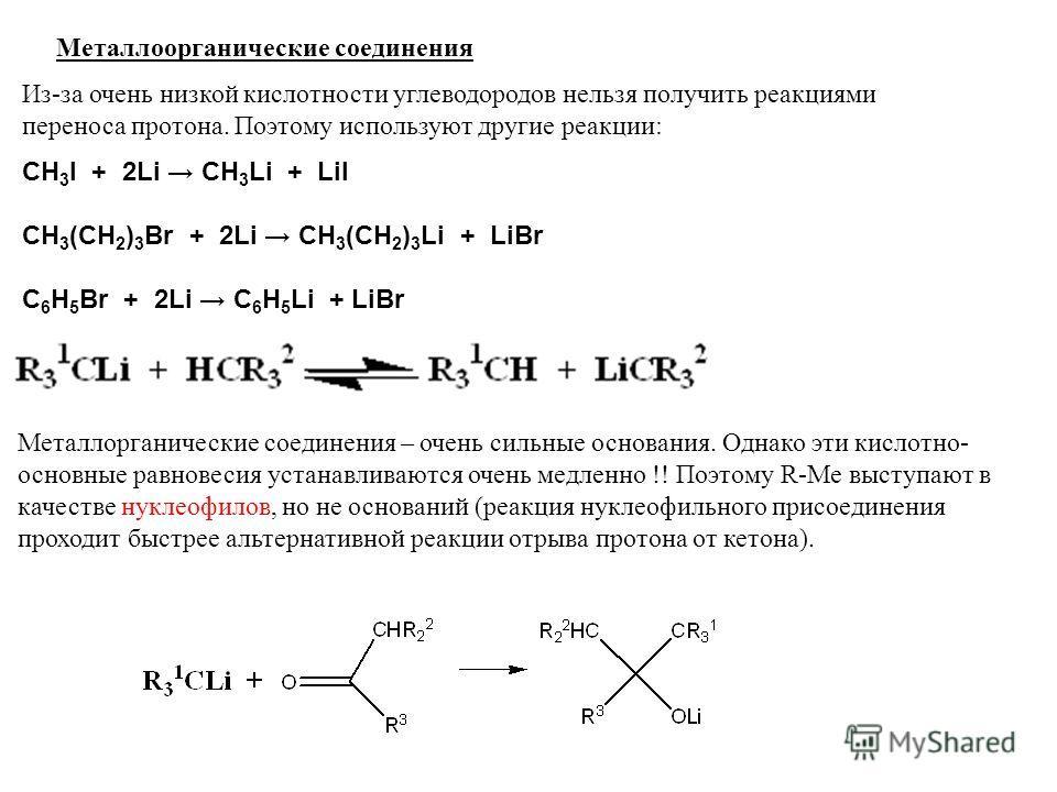 Металлоорганические соединения Из-за очень низкой кислотности углеводородов нельзя получить реакциями переноса протона. Поэтому используют другие реакции: CH 3 I + 2Li CH 3 Li + LiI CH 3 (CH 2 ) 3 Br + 2Li CH 3 (CH 2 ) 3 Li + LiBr C 6 H 5 Br + 2Li C