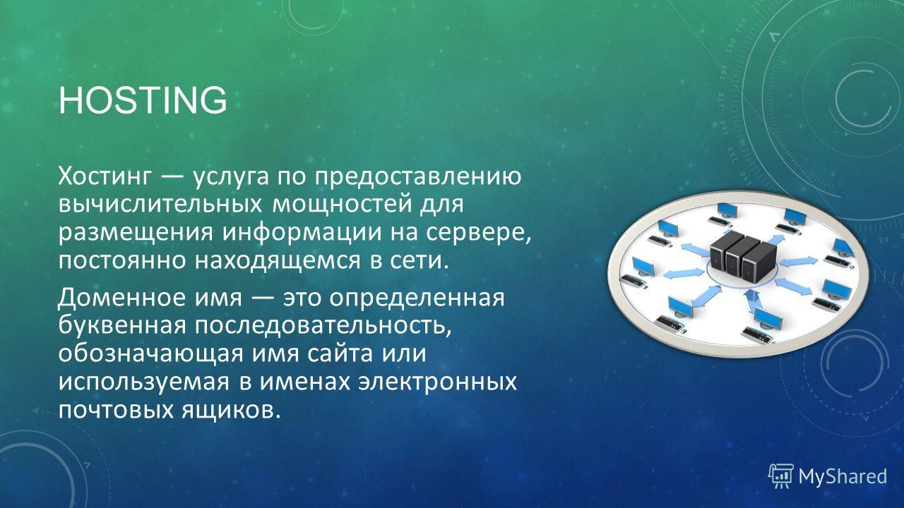 HOSTING Хостинг услуга по предоставлению вычислительных мощностей для размещения информации на сервере, постоянно находящемся в сети. Доменное имя это определенная буквенная последовательность, обозначающая имя сайта или используемая в именах электро