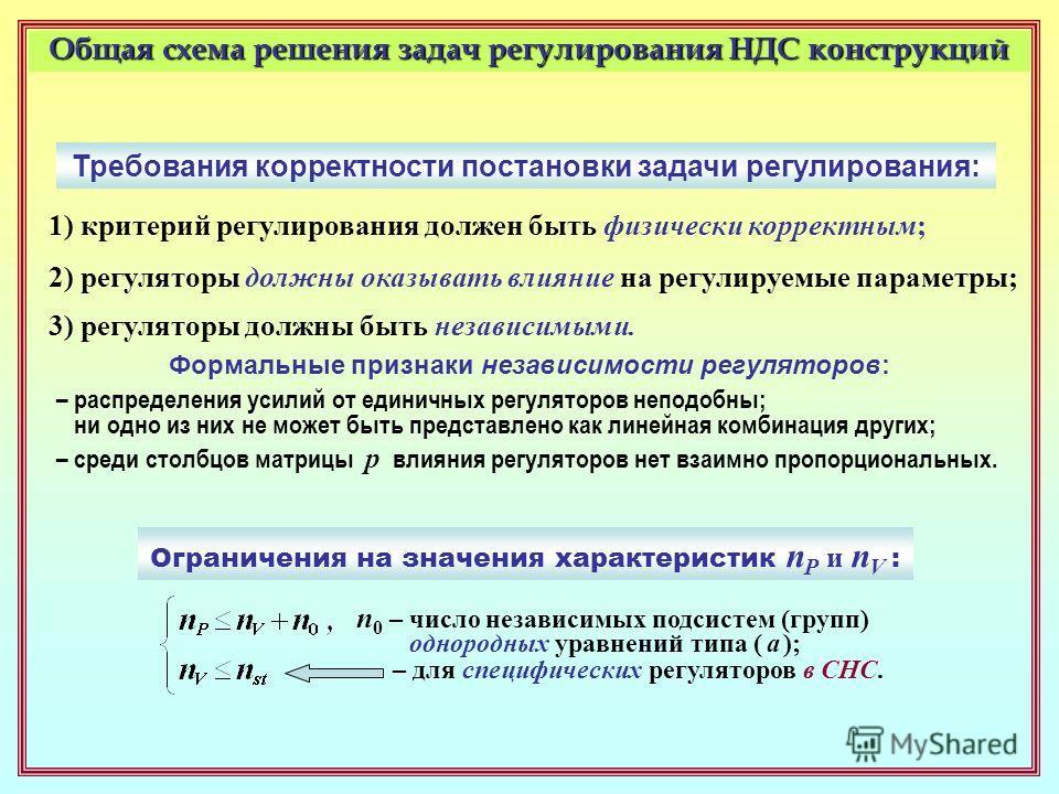Общая схема решения задач регулирования НДС конструкций Требования корректности постановки задачи регулирования: 1) критерий регулирования должен быть физически корректным; 2) регуляторы должны оказывать влияние на регулируемые параметры; 3) регулято