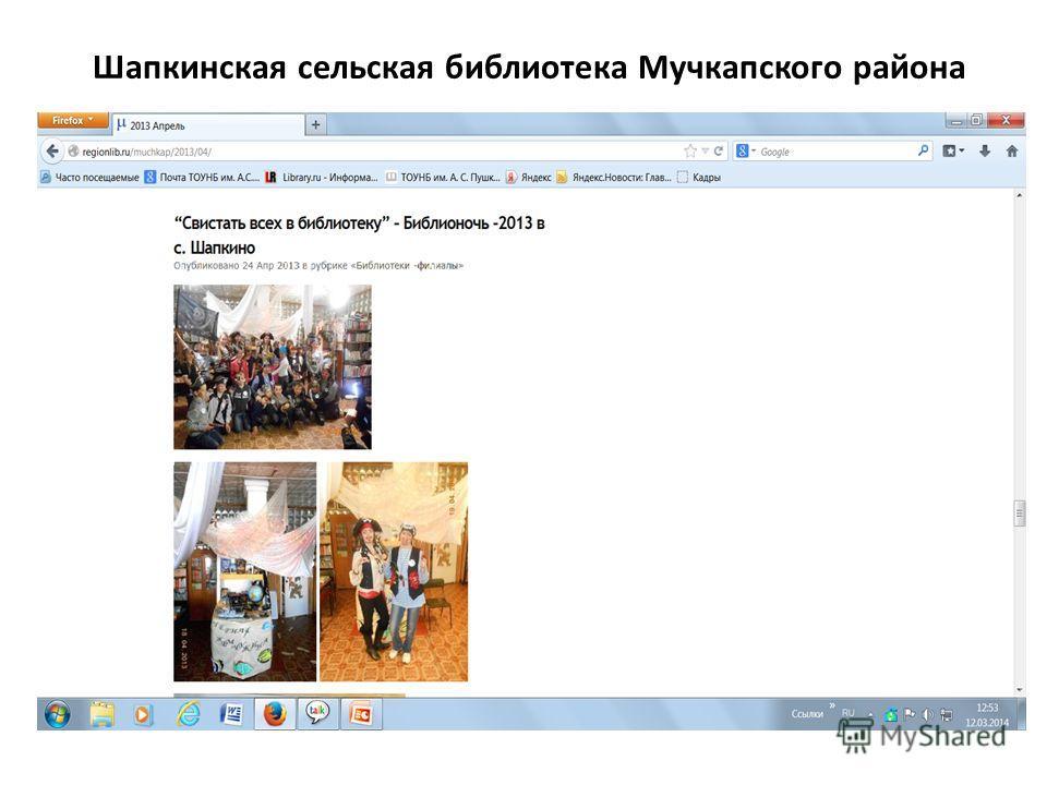 Шапкинская сельская библиотека Мучкапского района