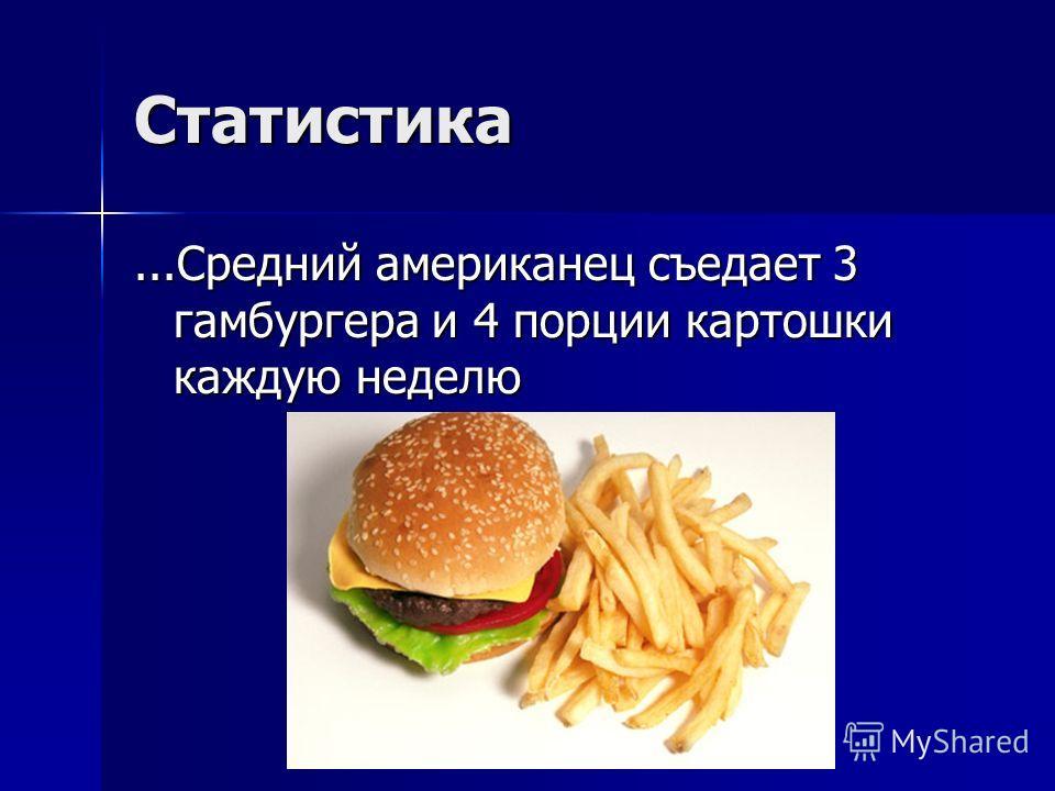 Статистика...Средний американец съедает 3 гамбургера и 4 порции картошки каждую неделю