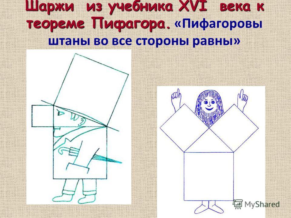 Шаржи из учебника XVI века к теореме Пифагора. Шаржи из учебника XVI века к теореме Пифагора. «Пифагоровы штаны во все стороны равны»