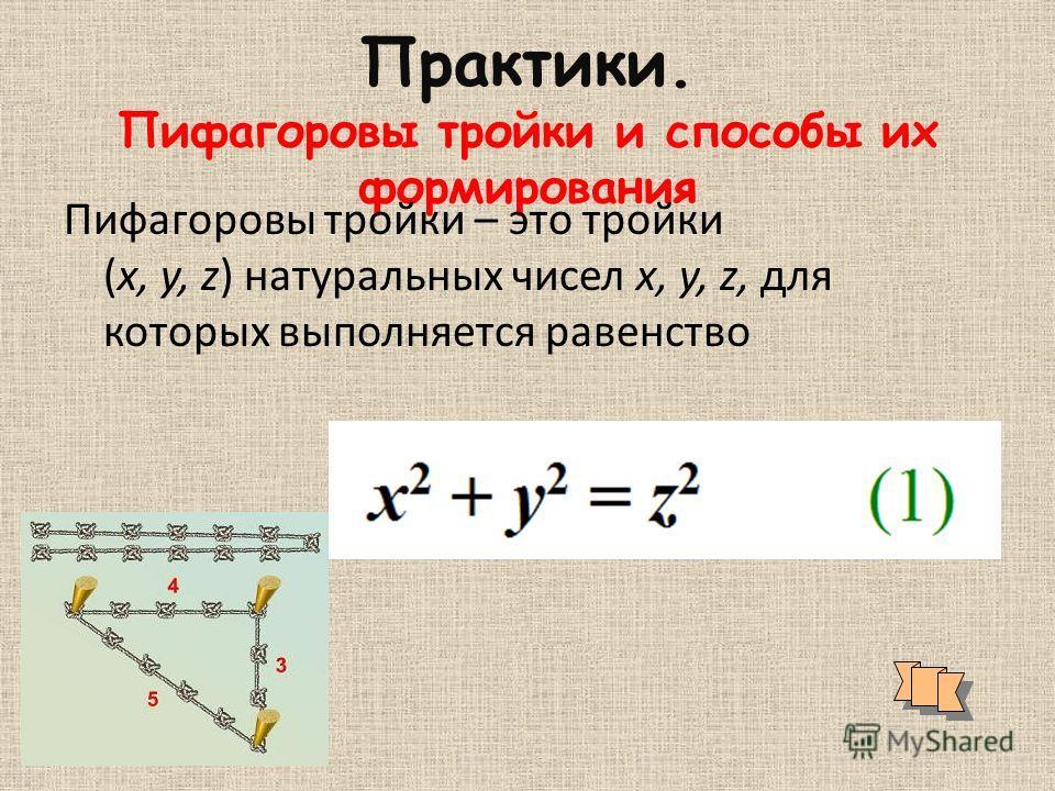 Практики. Пифагоровы тройки и способы их формирования Пифагоровы тройки – это тройки (x, y, z) натуральных чисел x, y, z, для которых выполняется равенство