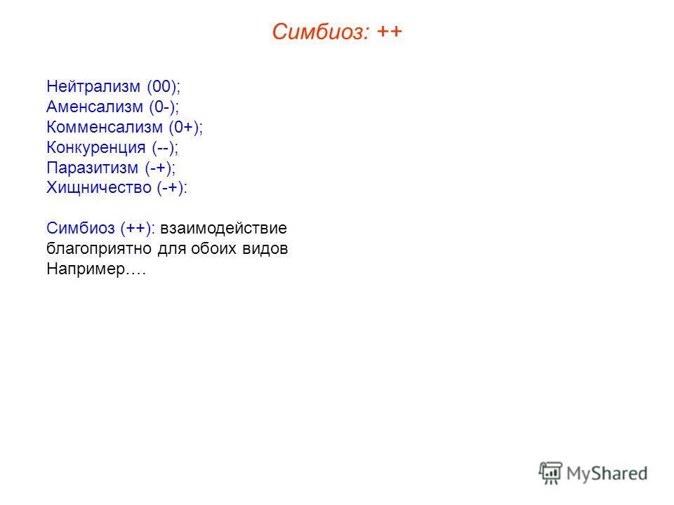 Нейтрализм (00); Аменсализм (0-); Комменсализм (0+); Конкуренция (--); Паразитизм (-+); Хищничество (-+): Симбиоз (++): взаимодействие благоприятно для обоих видов Например…. Симбиоз: ++
