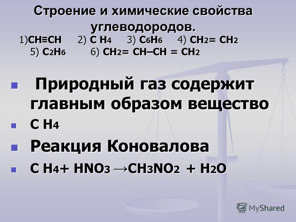 Строение и химические свойства углеводородов. 1)CH CH 2) C H 4 3) C 6 H 6 4) CH 2 = CH 2 5) C 2 H 6 6) CH 2 = CH–CH = CH 2 1)CH CH 2) C H 4 3) C 6 H 6 4) CH 2 = CH 2 5) C 2 H 6 6) CH 2 = CH–CH = CH 2 Природный газ содержит главным образом вещество Пр