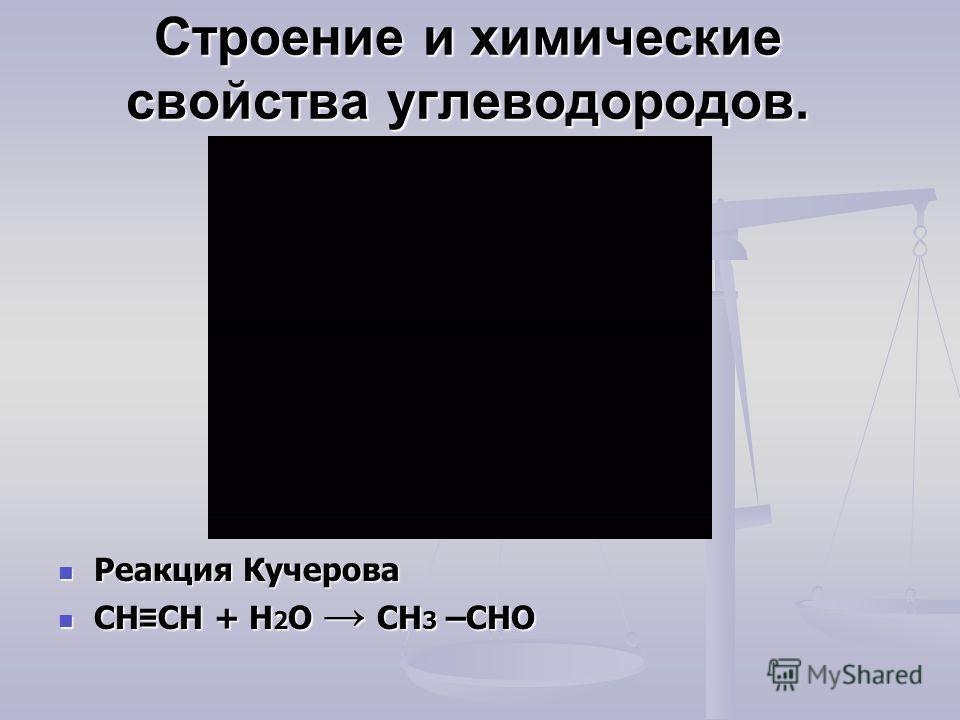 Строение и химические свойства углеводородов. Реакция Кучерова CH CH + H 2 O CH 3 –CHO