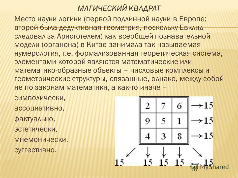 МАГИЧЕСКИЙ КВАДРАТ Место науки логики (первой подлинной науки в Европе; второй была дедуктивная геометрия, поскольку Евклид следовал за Аристотелем) как всеобщей познавательной модели (органона) в Китае занимала так называемая нумерология, т.е. форма