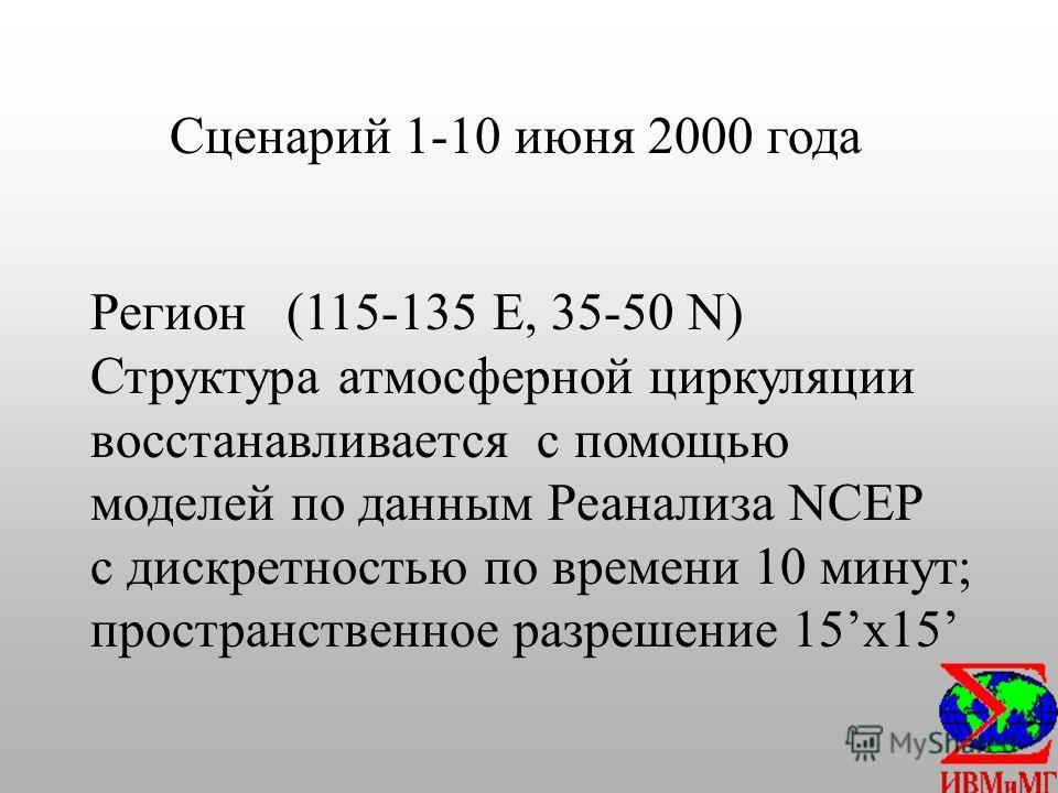 Сценарий 1-10 июня 2000 года Регион (115-135 E, 35-50 N) Структура атмосферной циркуляции восстанавливается с помощью моделей по данным Реанализа NCEP с дискретностью по времени 10 минут; пространственное разрешение 15 х 15